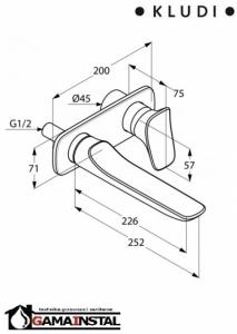 Rysunek techniczna baterii umywalkowej Ambienta 532450575