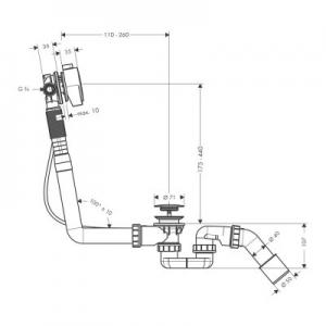 Rysunek z wymiarami technicznymi syfony Exafill S 58113000