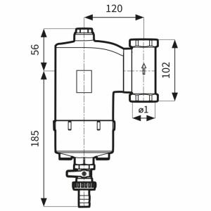 AFRISO Separator zanieczyszczeń FAR 202, chromowany, z magnesem i zaworem spustowym, ruchome przyłącza  7772020