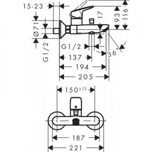Rysunek z wymiarami technicznymi baterii wannowej Logis 71400000