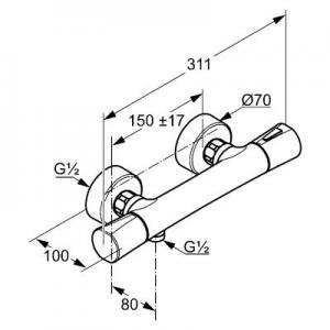 Rysunek techniczny baterii termostatycznej Zenta