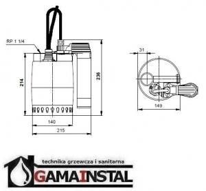 Grundfos Unilift KP 150 AV 1 Pompa zatapialna do odwadniania 011H1400