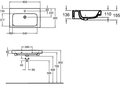 Koło Umywalka Modo 80 Cm Z Otworem Z Przelewem L31980 Umywalki