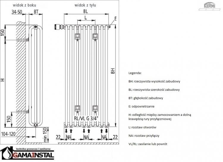kermi decor v 600x1196 grzejnik dekoracyjny typ32 d0v32060026 azienkowe dekoracyjne p h u. Black Bedroom Furniture Sets. Home Design Ideas
