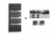 Terma grzejnik  Warp S 1100X500  metallic black + zestaw zaworów chrom  WGWAS111050KMBCGD