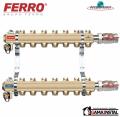 Ferro Rozdzielacz mosiężny 6-obwodowy z zaworami RO06