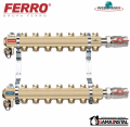Ferro Rozdzielacz mosiężny 9-obwodowy z zaworami RO09