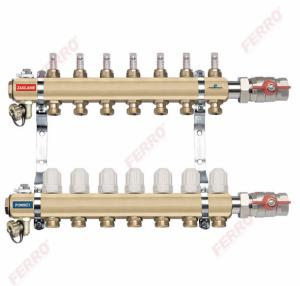 Ferro Rozdzielacz 2-drogowy z zaworami termostatycznymi i przepływomierzami RZP02