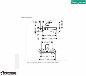 Hansgrohe Logis Jednouchwytowa Bateria Umywalkowa, Montaż Ścienny DN15, 71225000