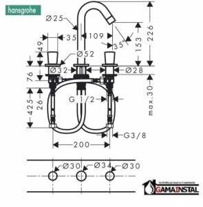 Hansgrohe 3-otworowa bateria umywalkowa 150, DN 15w kolorze chrom nr. 71133000