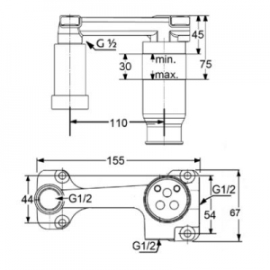 Rysunek techniczny elementu podtynkowego 38242