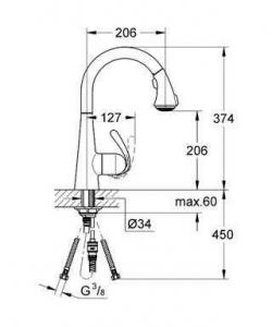 Rysunek techniczny baterii Zedra 32294SD1
