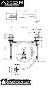 Hansgrohe Axor Bouroullec 2-uchwytowa bateria umywalkowa podtynkowa ze ścienną wylewką 200mm element zewnętrzny montaż pokręteł na umywalce 19139000
