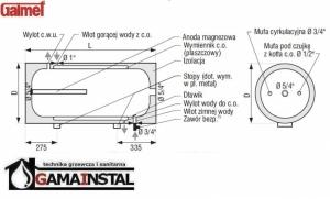 Rysunek techniczny bojlera Galmet 140L