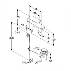 Kludi Ameo Jednouchwytowa bateria umywalkowa XL, chrom 410230575