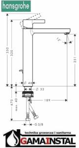 Hansgrohe Metris S Bateria Umywalkowa Wysoka