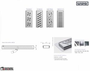 WIPER Premium Odpływ Liniowy 1100 mm Tivano, Zonda, Mistral, Sirocco WP1100