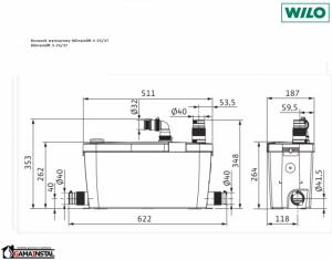 Rysunek techniczny pompy HiDrainlift 3-35