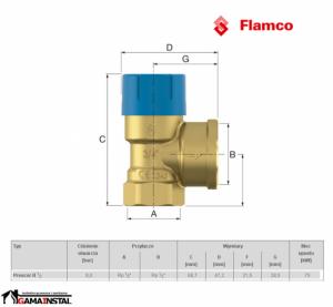 FLAMCO ZAWÓR BEZPIECZEŃSTWA PRESCOR B 1/2 8 Bar 27101