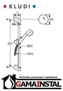 Kludi Zenta 2 s zetaw natyskowy L-600 cm 6073005-00
