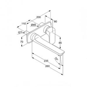 Kludi Ameo Jednouchwytowa bateria umywalkowa podtynkowa wylewka 23,5 cm, chrom 412450575