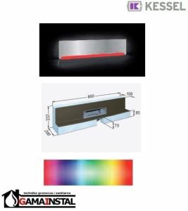 Kessel Scada LED Moduł do zabudowy 900x100 z odpływem ściennym RGB i pokrywą ze stali nierdz. do płytek max 10mm 48004.42