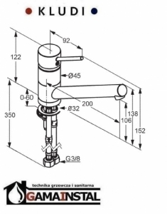 Rysunek techniczny baterii kuchennej Scope