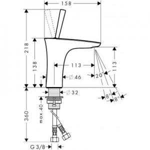 Rysunek techniczny baterii umywalkowej PuraVida 15070000