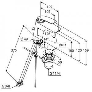 Rysunek techniczny baterii umywalkowej 520230575