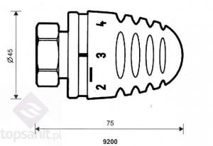 HERZ Design Mini Głowica Termostatyczna z Gwintem Przyłączeniowym M28x1,5