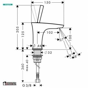 Hansgrohe  bateria umywalkowa  PuraVida 100 DN15  Biały /   Chrom 15132400