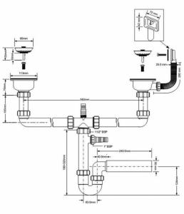 Rysunek techniczny syfonu zlewozmywakowego