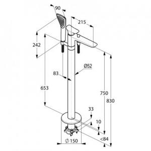 Rysunek techniczny baterii wannowej wolnostojącej Ambienta 535900575