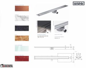 WIPER Invisible Slim Odpływ Liniowy 800 Drewno egzotyczne, Marmur, Granit, Gres, Szkło Hartowane, Posadzka Winylowa WIS800