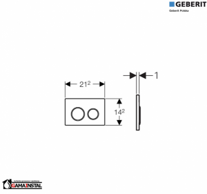 Rysunek techniczny przycisku Omega 20