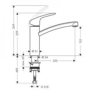 Rysunek techniczny baterii kuchennej Focus 31806
