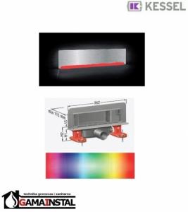 Kessel Scada LED Odpływ ścienny RGB, z pokrywą ze stali nierdz. do płytek 48003.42