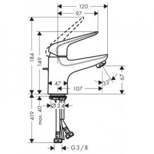 Rysunek techniczny baterii umywalkowej Novus
