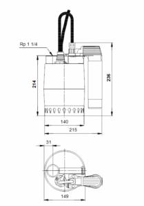 Rysunek techniczny pompy zatapialnej 012H1400