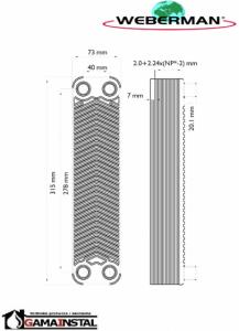 Weberman płytowy wymiennik ciepła (15-25 kW) IC8THx20