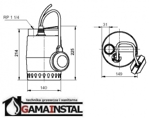 Rysunek techniczny pompy KP150