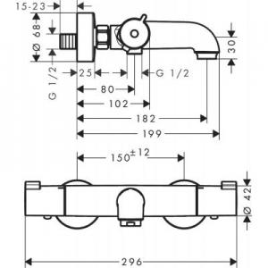 Rysunek techniczny baterii termostatycznej wannowej Ecostat 13201000