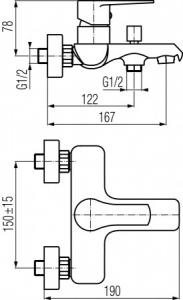 Rysunki techniczne baterii wannowej Dali 2447930