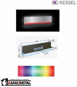 Kessel Scada LED Moduł do zabudowy 900x100 z odpływem ściennym RGB i pokrywą ze stali nierdz. do płytek max 17mm 48004.44