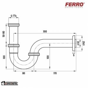 FERRO syfon rurowy 1 1/4 x 32 w kolorze chrom nr. S281