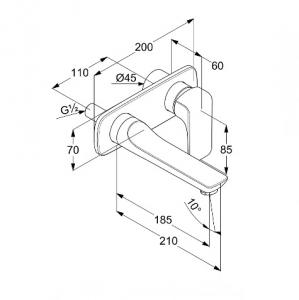 Kludi Ameo Jednouchwytowa bateria umywalkowa podtynkowa wylewka 18,5 cm, chrom  412440575