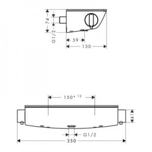 Wymiary techniczne baterii Ecostat Select 13161000