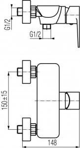 Rysunek techniczny baterii natryskowej Dali Black