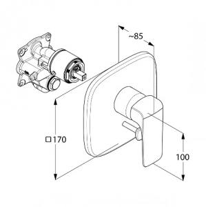 Kludi Ameo Jednouchwytowa bateria wannowo-prysznicowa podtynkowa, chrom 416500575