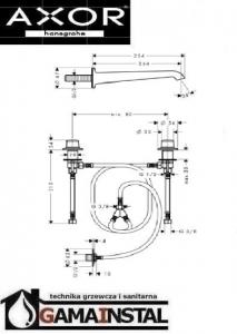 Hansgrohe Axor Bouroullec 2-uchwytowa bateria umywalkowa ze ścienną wylewką 245mm element zewnętrzny montaż pokręteł na umywalce 19140000